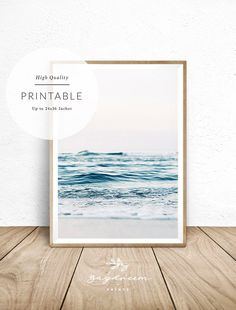 Blue ocean printable is an affordable and fun way to decorate your home, nursery… - Modern Office Depot, Budget Planer, Beach Color, Photo Center, Beach Print, Coastal Art, International Paper Sizes, Leaf Art, Costco