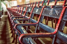 The oldest seats in baseball at Boston's Fenway Park which opened in 1912...beautiful.