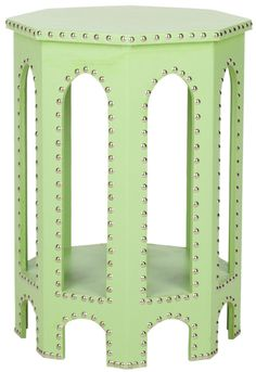 Moroccan Arch Side Table in Light Green with Iron Nail Heads
