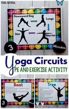 Yoga Circuit - Physical Education and Exercise Activities | Pink Oatmeal Shop Physical education and exercise activities. These yoga circuits are great for younger and older kids. Love all the different options, poses, and sequences! Great for a classroom, physical therapy, occupational therapy, physical education or brain break! Fun yoga poses for kids!<br> 16 full sheet Yoga circuit printables. Also included are labels for sequence,reps, and time. Also included is 6 yoga flow sequences… Elementary Physical Education, Health And Physical Education, Physical Therapy, Occupational Therapy, Science Education, Gym Games For Kids, Yoga For Kids, Exercise For Kids, Physical Exercise