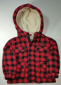 Oshkosh B'gosh 2T Checkered Red Black Winter Coat Toddler Jacket 100% Polyester  #OshKoshBgosh #Coat #Everyday
