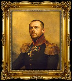 Simon Pegg by Steve Payne, creator of the Replaceface series, where Steve took digital copies of George Dawe's paintings of Russian generals and added celebrities faces to the portrait using Photoshop.