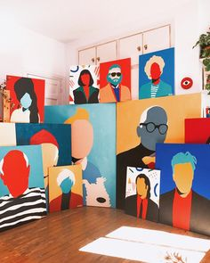 Abstract art prints and paintings of Jan Skacelik at his studio along with retro pottery and mid-century furniture Mural Art, Wall Mural, Diy Canvas Art, Painting Inspiration, New Art, Painting & Drawing, Art Projects, Art Drawings, Illustration Art