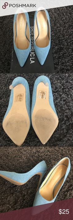 Denim Shoe republic heels size 8 I just purchased from Posh but they are a little small for my wife.  They are in great condition with small wear on soles, as seen in pic.  Looking to get what I paid for them.  My wife never wore them, so they are the same condition as I purchased them Shoe Republica Shoes Heels