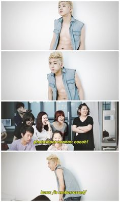 baro going from smokin' sexy to an embarrassed cutie :] BUT OH MY GOD DO I WANT THESE NOONAS' JOBS #baro #b1a4