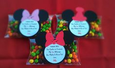 Mickey Mouse or Minnie Mouse Clear PVC pillow boxes for Birthday or any themed party