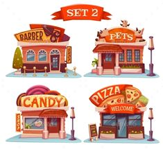 Candy, Pets Shop, Pizzeria And Barbershop. Vector - Buildings Objects