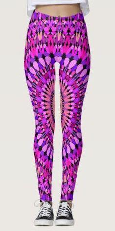 Pink and Purple Gravel Mandala Leggings Bohemian Flowers, Bohemian Style, Pink Leggings, Printed Leggings, Yoga Art, Clothing Apparel, Yoga Fashion, Leggings Fashion, Boho Outfits