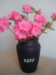 I love this idea of a chalkboard vase! via Burlap and Blue, etsy