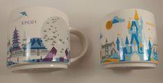 Starbucks Disney Magic Kingdom Epcot Lot of 2 You Are Here Series 14oz YAH Mug  #Starbucks