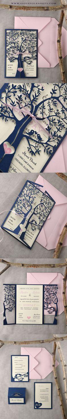 Navy & Pink Laser cut tree design Wedding Invitation || @4lovepolkadots