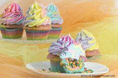 Rainbow Unicorn Cupcakes made with magic - jenny at dapperhouse - #unicorn #cupcake #rrainbow #pastel #nerds #candy #dessert #party