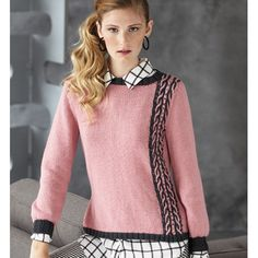 TWO-COLOR CABLE PULLOVER  Vogue Knitting Magazine Holiday 2013 #16  Design by Tabetha Hedrick