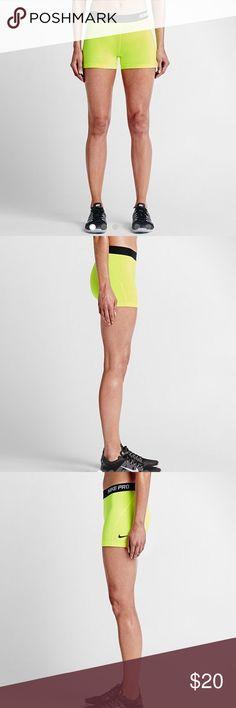 👟Nike Pro👟NWT Spandex Shorts👟Highlighter👟 NWT, Size S or M. Nike Shorts