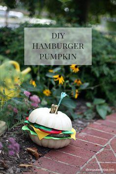DIY Hamburger Pumpkin Fall Decor Tutorial - Shrimp Salad Circus #Halloween #carving