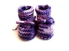 Chaussons bébé laine taille 3 mois violet tricotés main