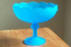 Vintage old satin blue Indiana glass pedestal by Timebanditvintage, $23.00