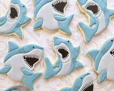 Elegant Decorated Cookies in The Greater by thesweetesttiers - Cake Decorating Dıy Ideen Summer Cookies, Fancy Cookies, Iced Cookies, Cute Cookies, Royal Icing Cookies, Cupcake Cookies, Cupcakes, Shark Cookies, Elephant Cookies