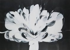 """FLOR DE LUZ - LIGHT FLOWER,"" abstract ablack and white flower painting by artsit Danilo Rojas available at Saatchi Art #blackandwhite #floral"