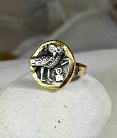 gold ancient coin ring statement ring ancient coin jewelry