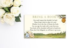 Winnie the Pooh Baby Shower Bring A Book Instead of a Card Insert Printable Girl or Boy Baby Shower INSTANT DOWNLOAD