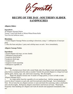 RECIPE OF THE DAY –SOUTHERN SLIDER SANDWICHES