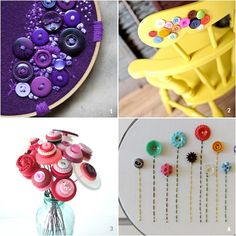 Button crafting ideas - I love the one that sews them onto a embroidery ring. Maybe with the patterned fabric collection?