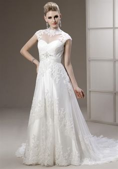 Nice - sheer neckline, sweetheart, empire waste and jeweled belt.