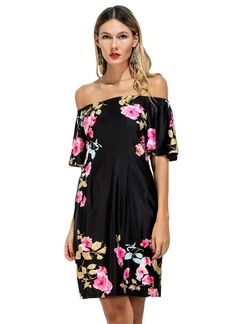 7de22d0ca2d9 Vintage Floral Off Shoulder Short Sleeve Women s Mini Dress