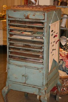 ♥ love this, this would work in any craft room to store there crad sock in as well as a quilters fabrics. Primitive Furniture, Paint Effects, Architectural Salvage, Jewelry Armoire, Craft Storage, Vintage Love, Painted Furniture, Shabby Chic, Scrapbook Storage