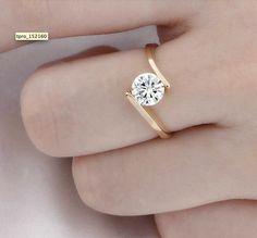 Round Moissanite Engagement Ring Gold diamond by Donatellawedding