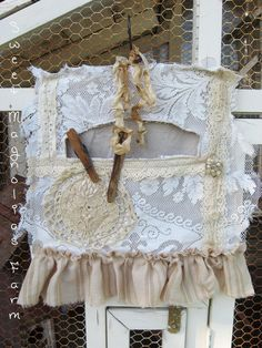 Clothespin Bag - Rustic Farmhouse Romance - Vintage Lace and Linen Ruffles