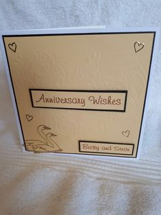 Embossed heart anniversary card