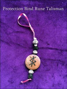 Personalised PROTECTION BIND RUNE. Wooden Talisman Amulet. Viking Pagan Charm
