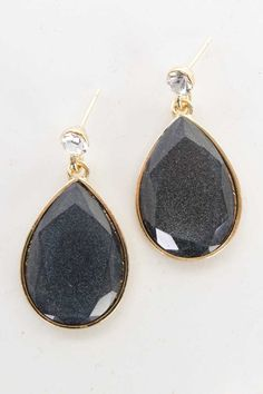 #FashionVault #diamond clubwear #Women #Accessories - Check this : Black Gold Rain Drop Faceted Bead Dangling Earrings for $14.99 USD instead of $3.99 #OnSale