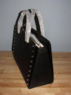 3d0b291d6c2c Michael Kors Sylvie Stud Large Leather Satchel Handbag Tote Black Gold  358  NWT  179.99 http