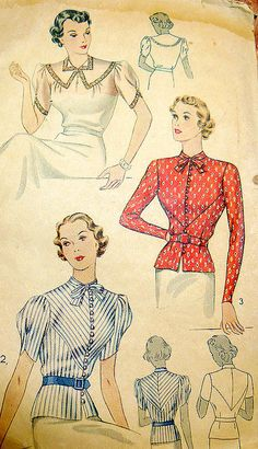 Note the use of stripes on this bodice. simplicity blouse 1930s
