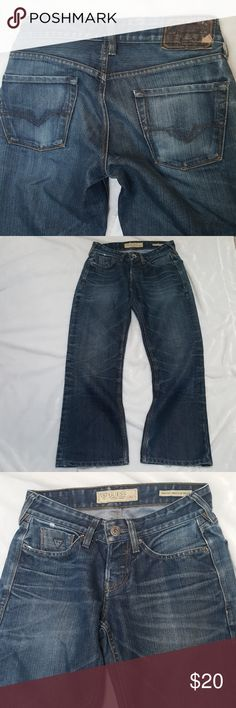 """Guess Falcon Boot Jeans sz 27X28 Jeans just as pictured. My son is a size 28, fits him snug now, jeans are more of a size 27. It may fit a 28 but they will fit tight. Tag says 30"""" LONG but it's not it's 28"""" they were not altered but do have wear to back of hems see last pic. Inseam 28"""" LONG  See my pics with measurements, compare with your jeans so you will know they will fit.  Shop with confidence I'm a Posh Ambassador 🤗 Will ship next business day Guess Jeans Bootcut"""