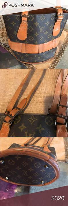Vintage Louise Vuitton Small Bucket Bag Vintage worn Authentic LV (see pics clean on the inside) small bucket bag! Louis Vuitton Bags Totes