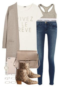 """""""Sin título #3109"""" by hellomissapple ❤ liked on Polyvore featuring Frame Denim, Calvin Klein, J.Crew, N.Peal Cashmere, Black Apple, Chloé, Yves Saint Laurent, Burberry and Forever 21"""