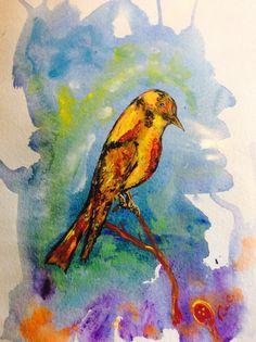 Golden Bower Bird by RobertsOriginalArt on Etsy People Of The World, Bird Art, Prints, Etsy, Painting, Ideas, Painting Art, Paintings, Paint