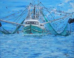 Boat Painting - Shrimp Boat In Louisiana Marsh by Crystal N Puckett Louisiana History, Louisiana Art, Louisiana Homes, New Orleans Louisiana, Louisiana Swamp, Lafayette Louisiana, Wooden Boat Building, Wooden Boat Plans, Boat Building Plans