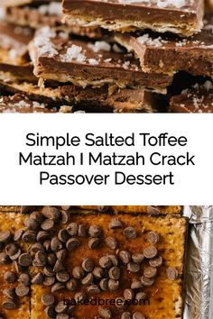 Matzah Crack! A simple from-scratch matzah cracker dessert recipe that's perfect for Passover. Top matzah bread with homemade toffee and melted chocolate, then sprinkle with flaked sea salt and chill for a crunchy sweet treat! Fruit Cookies, Roll Cookies, Flourless Chocolate Cakes, Chocolate Chip Cookies, Cookie Recipes, Dessert Recipes, Passover Desserts, Homemade Toffee, Kids Cooking Recipes