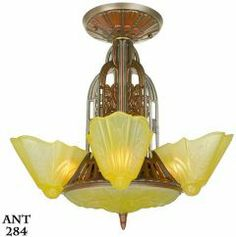 ANT-284  American Art Deco Slip Shade, Chandelier by Lightolier From the Art Deco period, two names for quality and design are well recognized by collectors:  Lightolier and Consolidated Glass.  With this fixture, we have the best of these two companies.