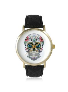 Olivia Pratt Women's 14953 Sugar Skull Black/White Leather Watch at MYHABIT