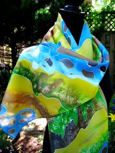 Hand Painted Silk Scarf women fashion abstract