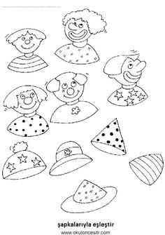 Printable coloring pages Preschool Worksheets Carnival - Coloring page Connect every clown with his hat Clown Crafts, Circus Crafts, Carnival Crafts, Coloring Book Art, Coloring Pages, Kindergarten Worksheets, Preschool Activities, Theme Carnaval, Create Invitations