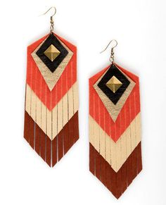 Inspired by Claire Fong Mojave Leather Fringe Earrings