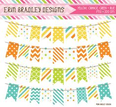 Orange Yellow Blue Green Bunting Clipart Graphics Set Personal & Commercial Use Clip Art Instant Download