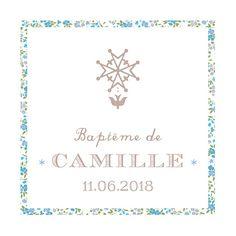 Etiquette de baptême Croix huguenote bleu
